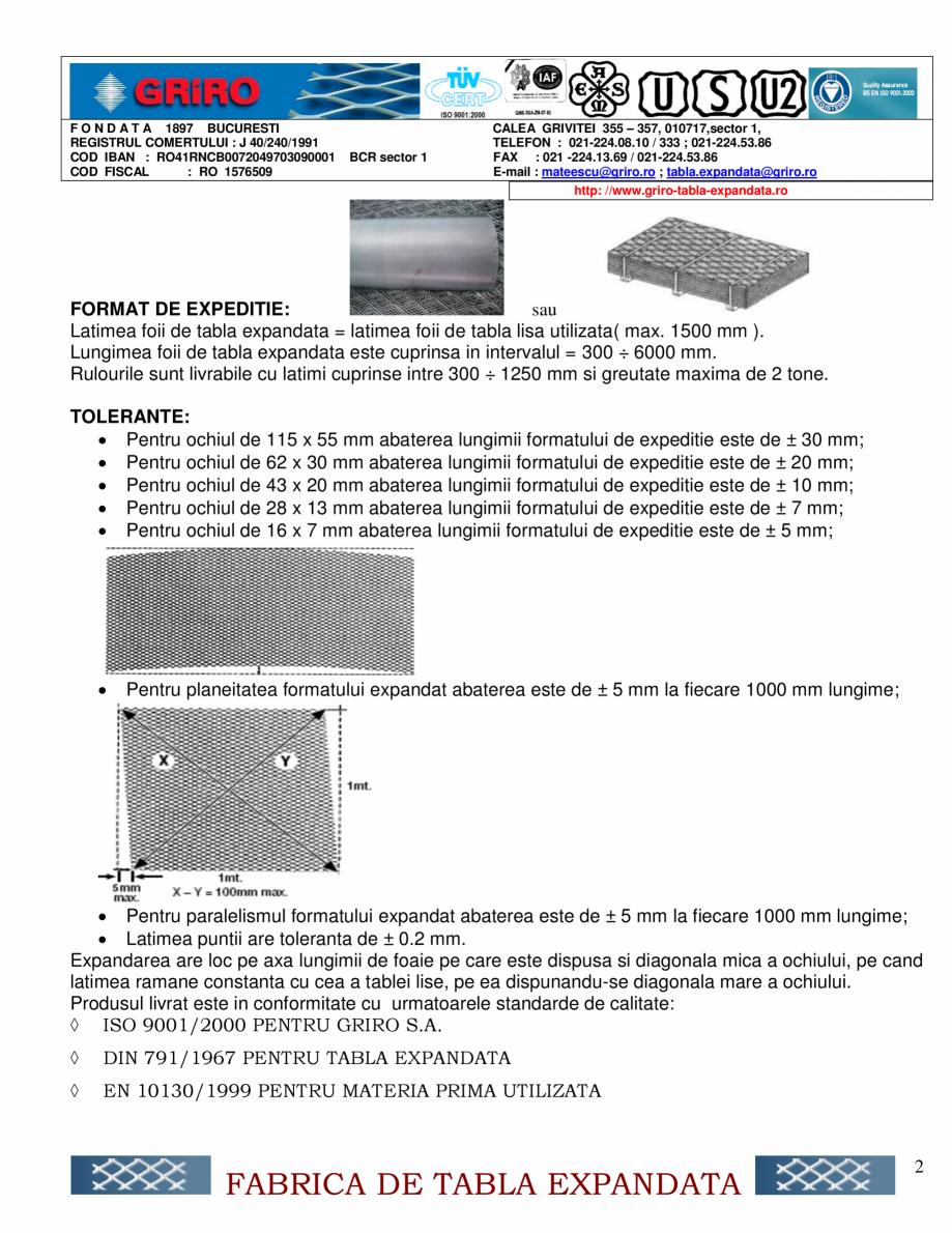 Fisa tehnica Specificatie de produs TEG-OO1 GRIRO Gratare metalice din tabla expandata GRIRO 6x7 28x13 6x3 10x5 16x7 28x13 43x20 50x20 75x35 10 x5 ;16x7 ; 28x13 ; 43x20 ; 62x25 ; 75x35 28x13 ; ... - Pagina 2