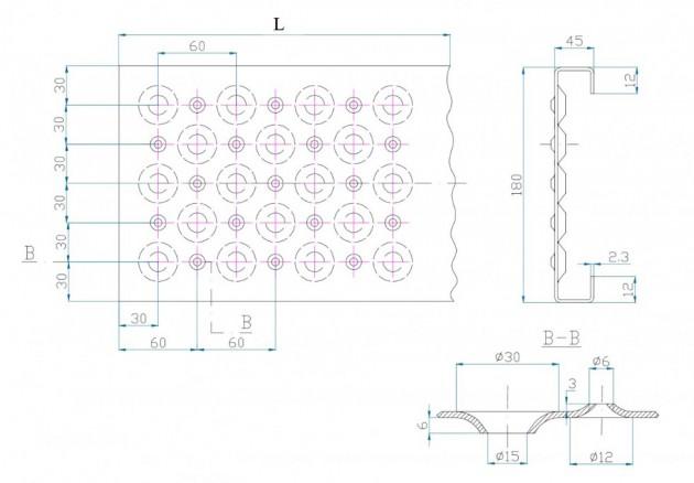 Schiță dimensiuni Element de gratar din otel zincat sau inox - GRIRO tip II