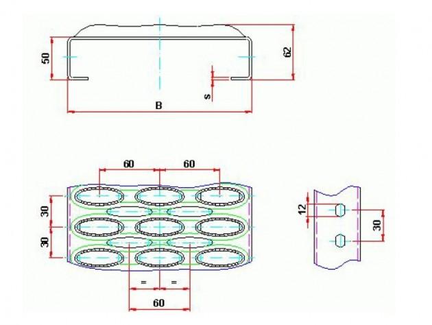 Schiță dimensiuni Element de gratar din aluminiu - GRIRO tip III
