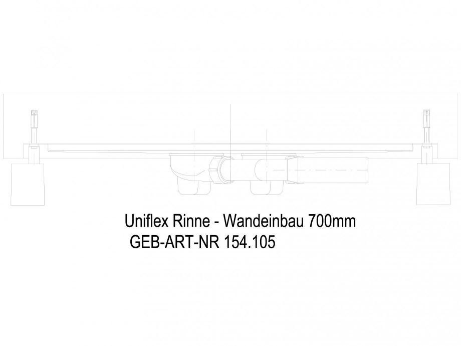 Pagina 1 - CAD-DWG Rigola dus liniara in pardoseala la perete  700 mm, vedere din lateral GEBERIT...