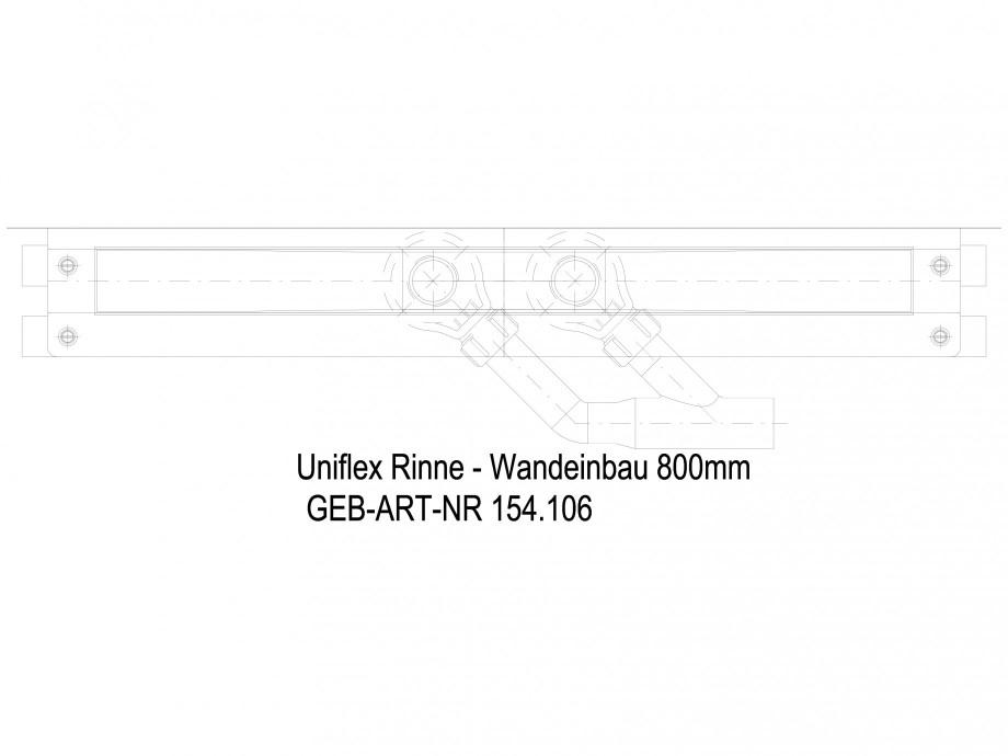Pagina 1 - CAD-DWG Rigola dus liniara in pardoseala la perete 800 mm, vedere de sus GEBERIT Detaliu ...