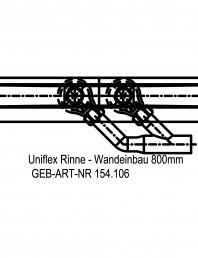 Rigola dus liniara in pardoseala la perete 800 mm, vedere de sus