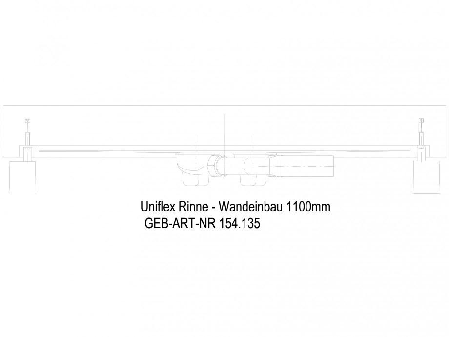 Pagina 1 - CAD-DWG Rigola dus liniara in pardoseala la perete 1100 mm, vedere din lateral GEBERIT...