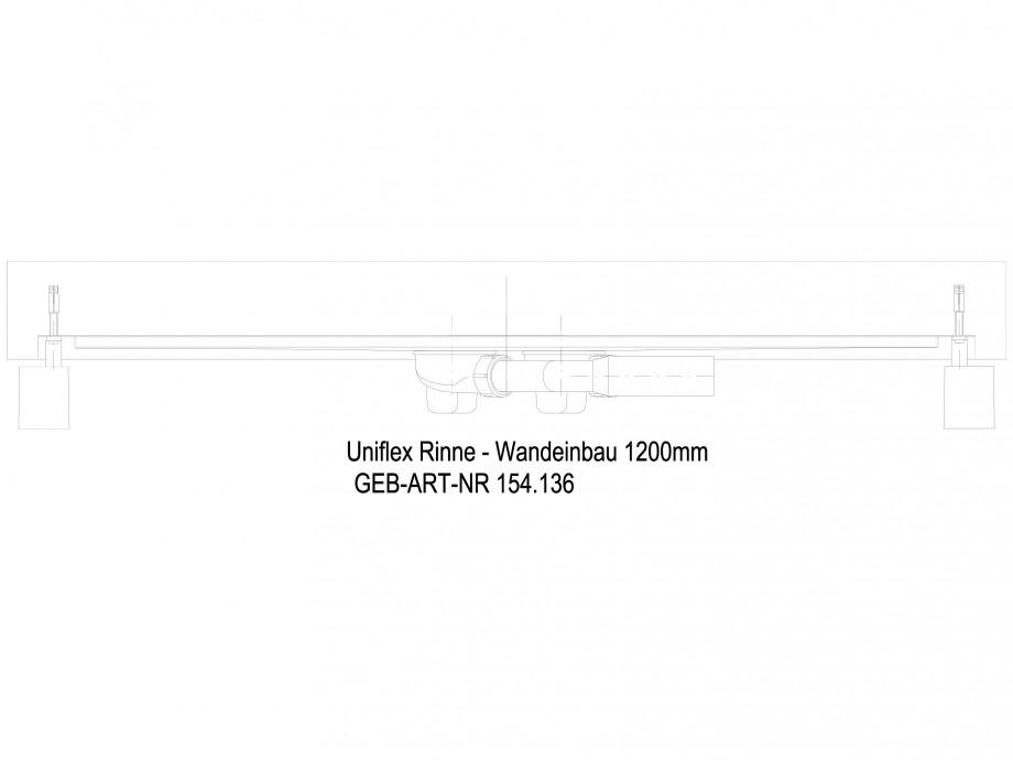 Pagina 1 - CAD-DWG Rigola dus liniara in pardoseala la perete 1200 mm, vedere din lateral GEBERIT...