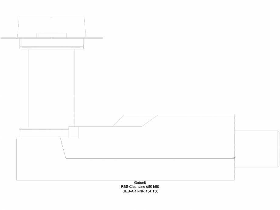 Pagina 1 - CAD-DWG Rigola dus - varianta sapa 90 mm 154.150, vedere din lateral GEBERIT Detaliu de...