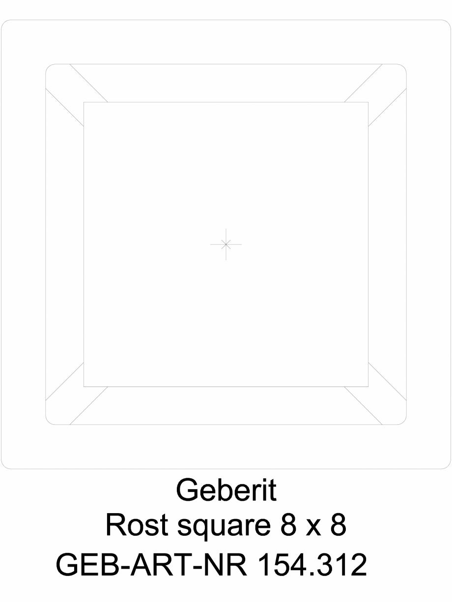 Pagina 1 - CAD-DWG Geberit Designrost Square, 8 x 8 cm cod 154.312.00.1_G GEBERIT Detaliu de produs ...