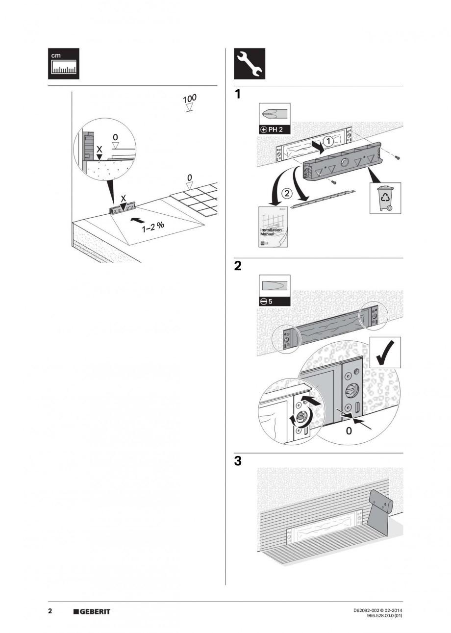 Pagina 2 - Capac rigola de scurgere in perete pentru dus GEBERIT Instructiuni montaj, utilizare...