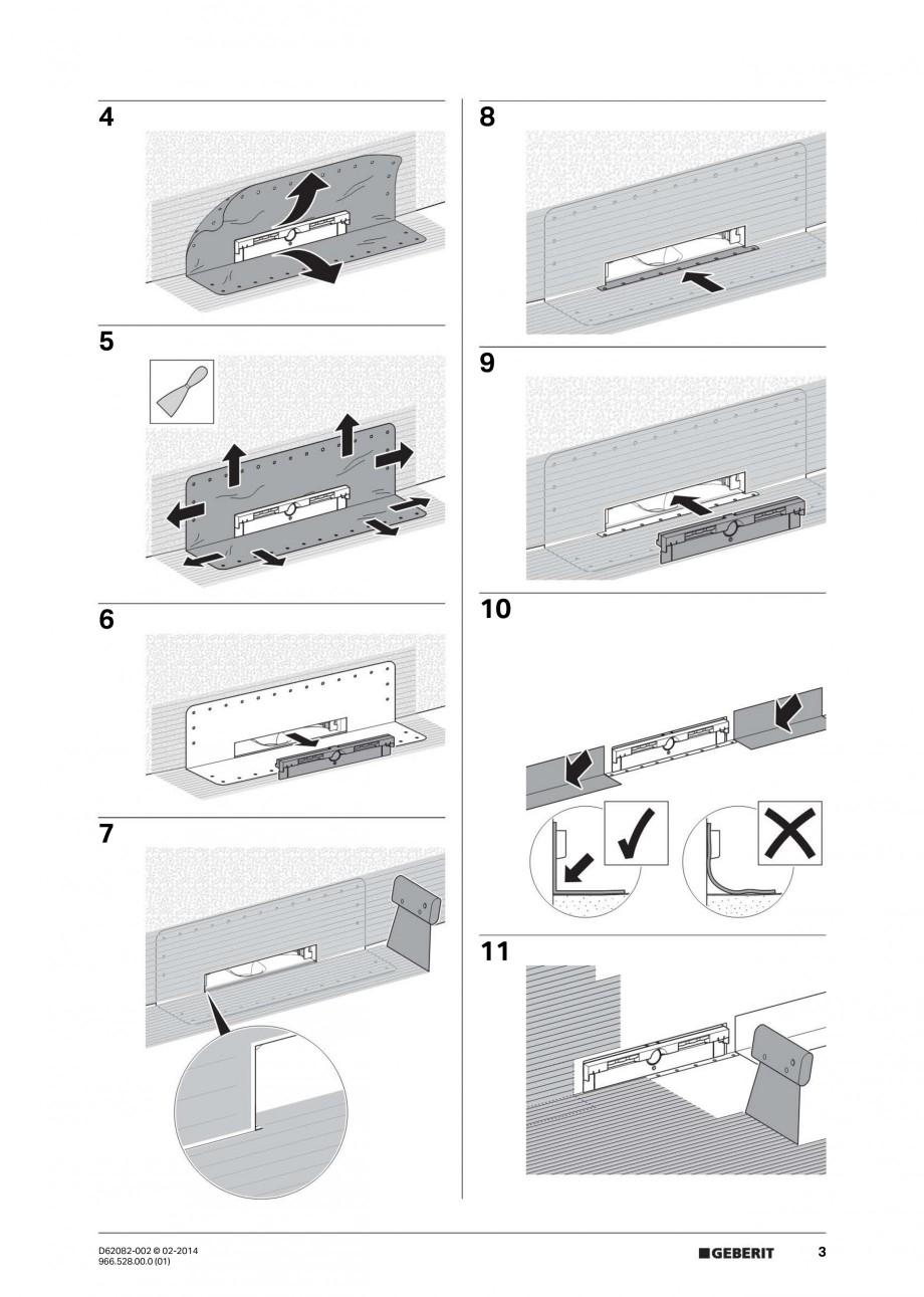 Pagina 3 - Capac rigola de scurgere in perete pentru dus GEBERIT Instructiuni montaj, utilizare...
