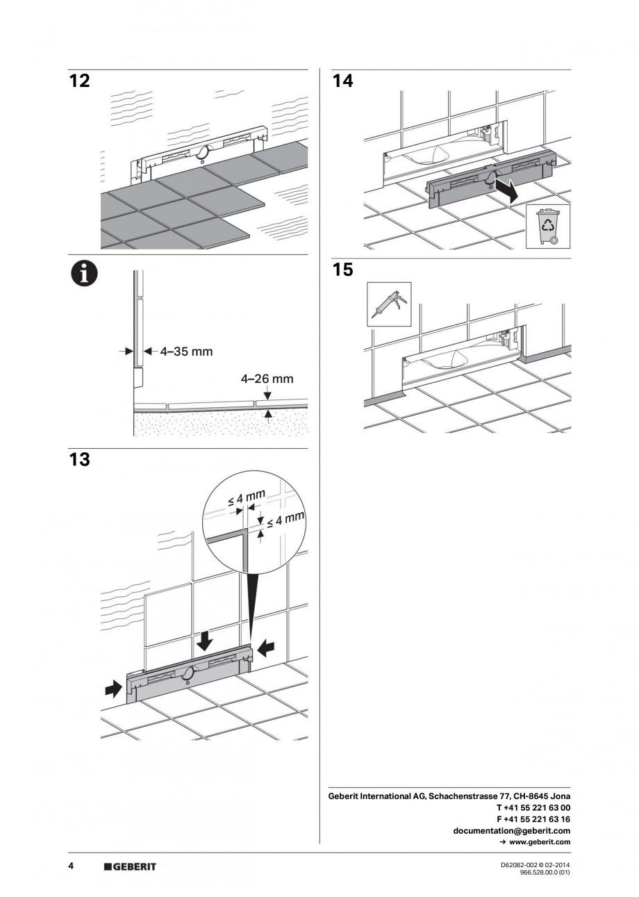 Pagina 4 - Capac rigola de scurgere in perete pentru dus GEBERIT Instructiuni montaj, utilizare...