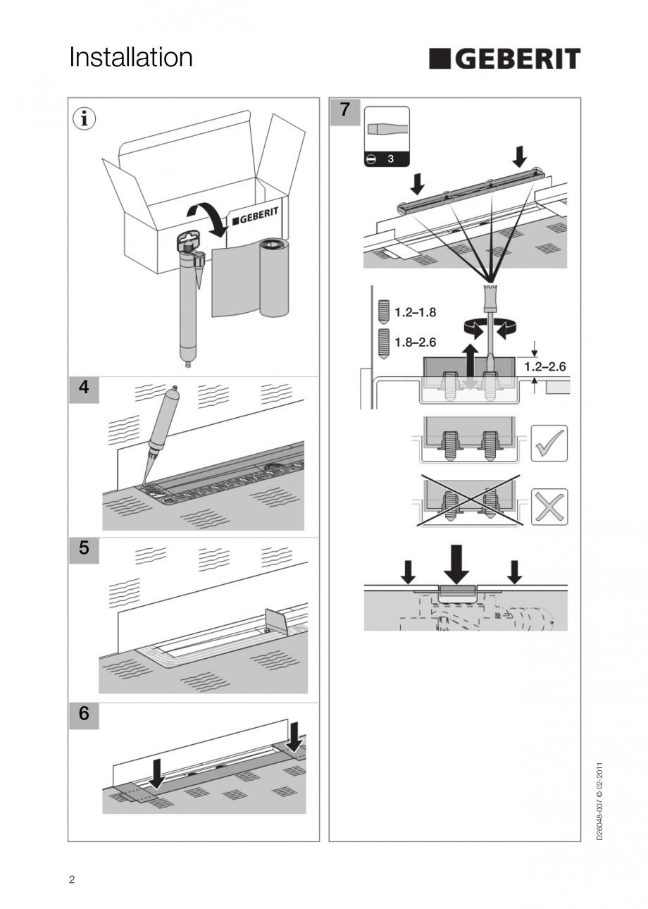 Pagina 2 - Capac rigola liniara pentru dus GEBERIT Scurgere in pardoseala Instructiuni montaj,...