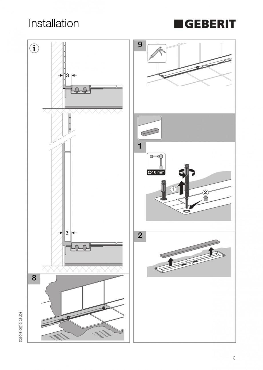 Pagina 3 - Capac rigola liniara pentru dus GEBERIT Scurgere in pardoseala Instructiuni montaj,...