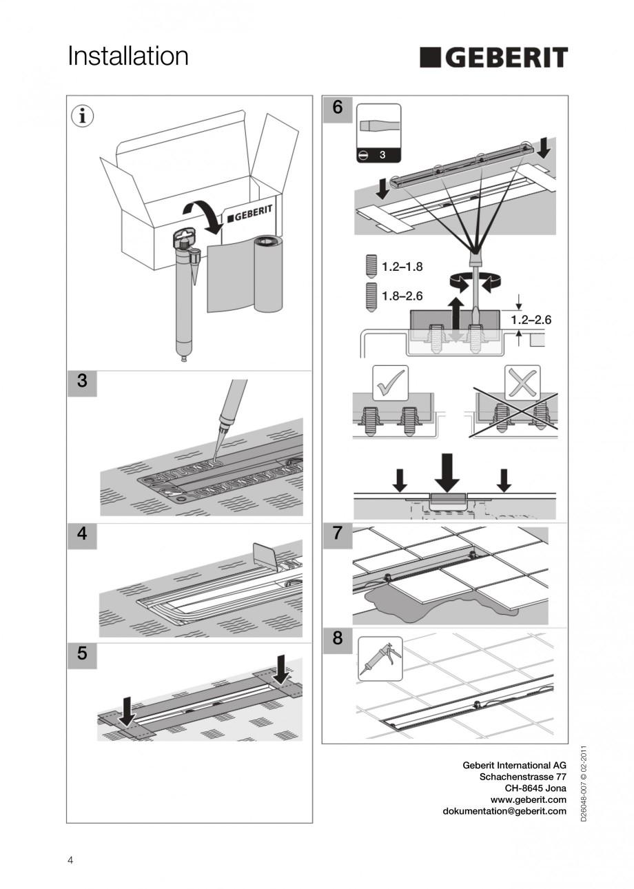 Pagina 4 - Capac rigola liniara pentru dus GEBERIT Scurgere in pardoseala Instructiuni montaj,...