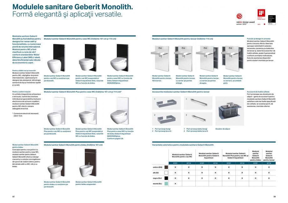 Pagina 17 - Elemente de instalare GEBERIT Scurgere in perete Catalog, brosura Romana r încastrat...