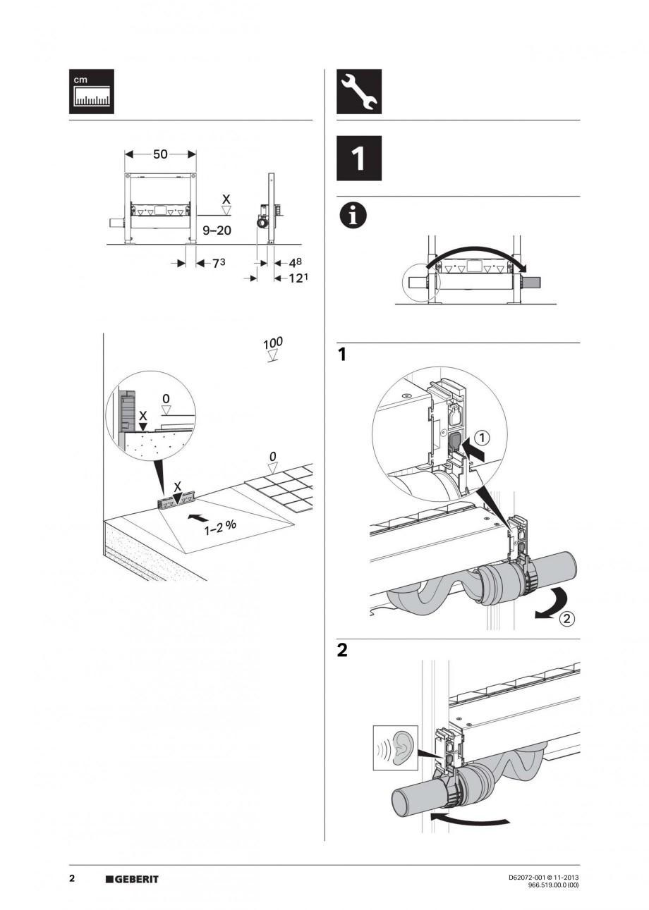 Pagina 2 - Rigola de scurgere in perete pentru dus GEBERIT Instructiuni montaj, utilizare Engleza,...