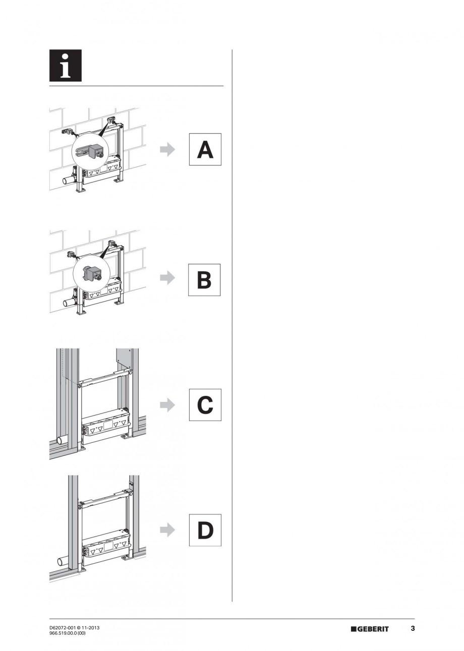 Pagina 3 - Rigola de scurgere in perete pentru dus GEBERIT Instructiuni montaj, utilizare Engleza,...