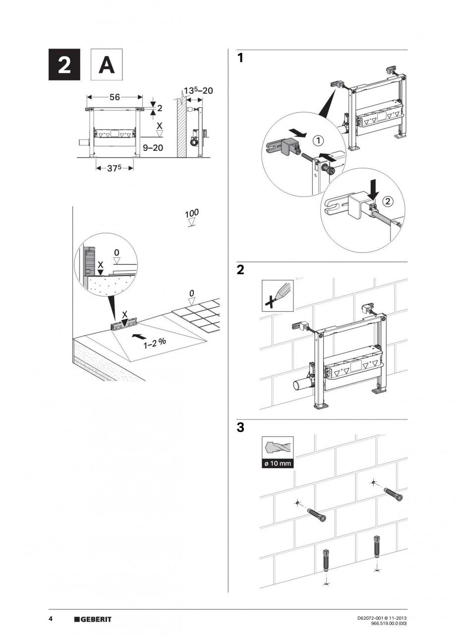 Pagina 4 - Rigola de scurgere in perete pentru dus GEBERIT Instructiuni montaj, utilizare Engleza,...
