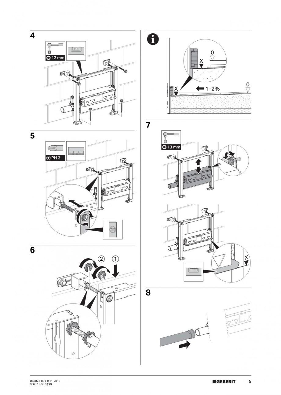 Pagina 5 - Rigola de scurgere in perete pentru dus GEBERIT Instructiuni montaj, utilizare Engleza,...