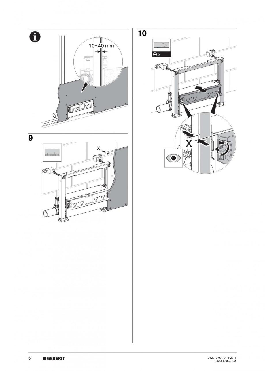 Pagina 6 - Rigola de scurgere in perete pentru dus GEBERIT Instructiuni montaj, utilizare Engleza,...