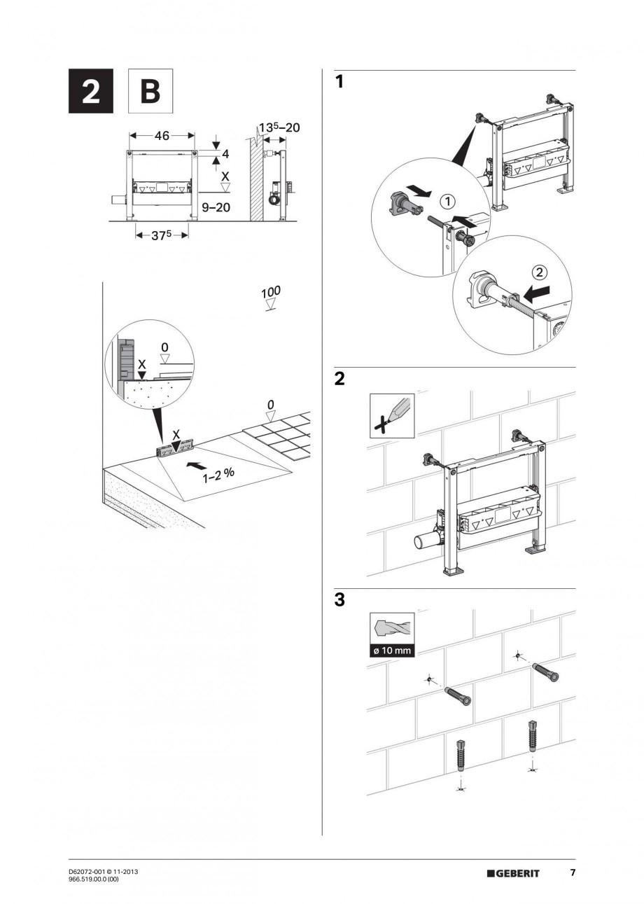 Pagina 7 - Rigola de scurgere in perete pentru dus GEBERIT Instructiuni montaj, utilizare Engleza,...