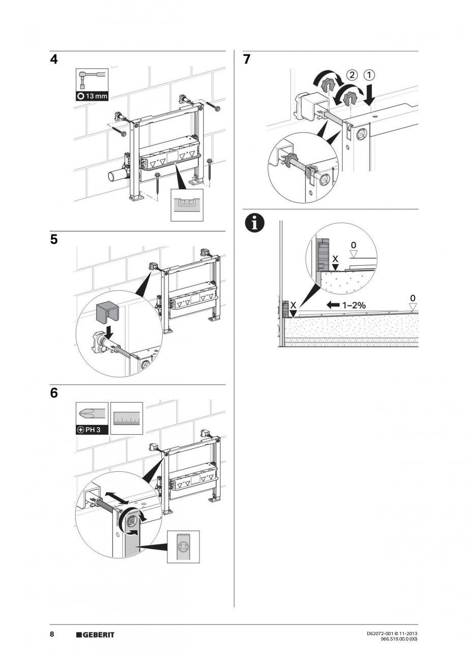 Pagina 8 - Rigola de scurgere in perete pentru dus GEBERIT Instructiuni montaj, utilizare Engleza,...