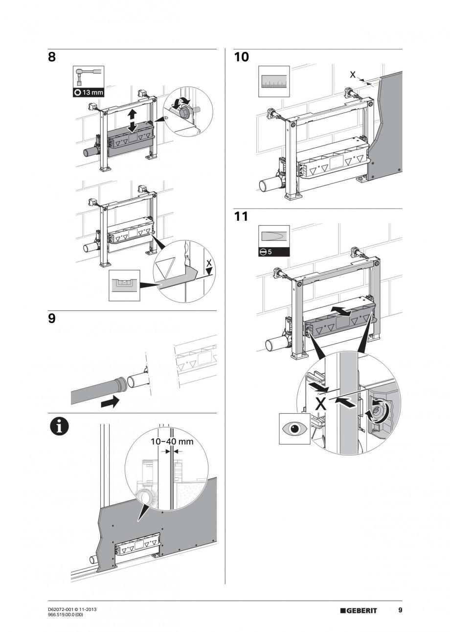 Pagina 9 - Rigola de scurgere in perete pentru dus GEBERIT Instructiuni montaj, utilizare Engleza,...