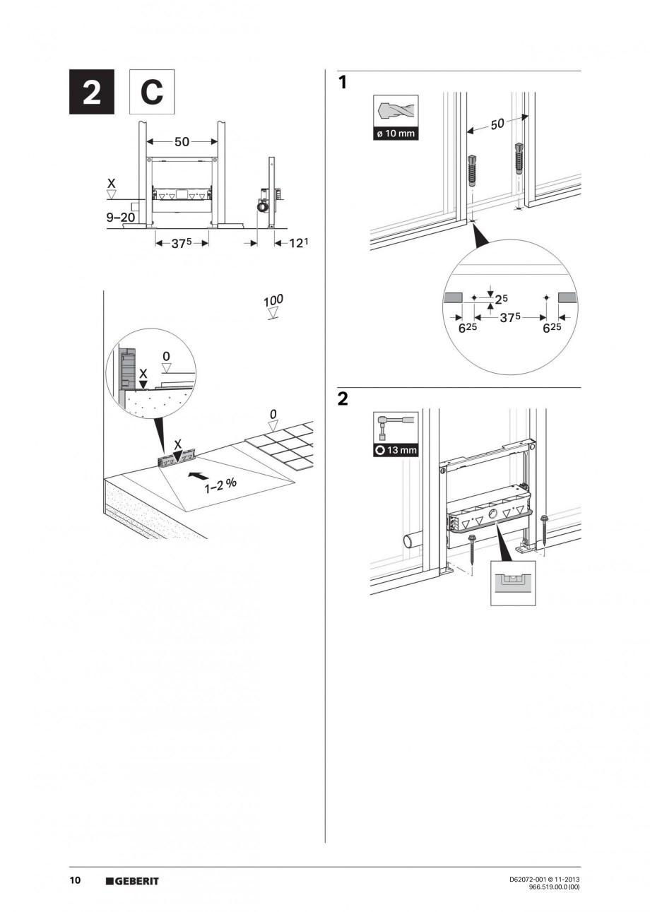 Pagina 10 - Rigola de scurgere in perete pentru dus GEBERIT Instructiuni montaj, utilizare Engleza, ...