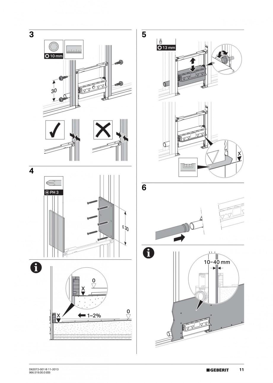 Pagina 11 - Rigola de scurgere in perete pentru dus GEBERIT Instructiuni montaj, utilizare Engleza, ...