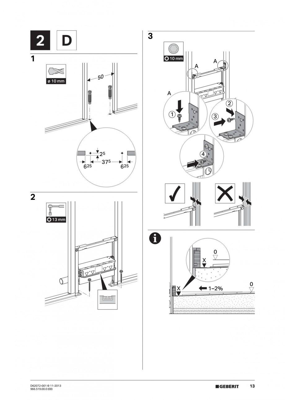 Pagina 13 - Rigola de scurgere in perete pentru dus GEBERIT Instructiuni montaj, utilizare Engleza, ...