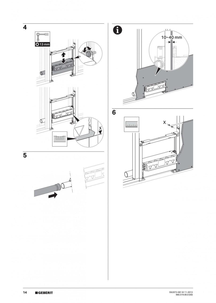 Pagina 14 - Rigola de scurgere in perete pentru dus GEBERIT Instructiuni montaj, utilizare Engleza, ...
