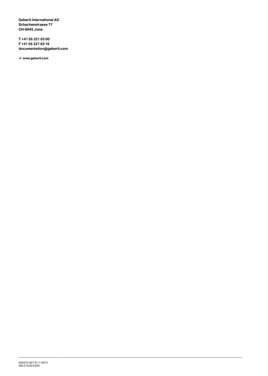 Pagina 16 - Rigola de scurgere in perete pentru dus GEBERIT Instructiuni montaj, utilizare Engleza, ...