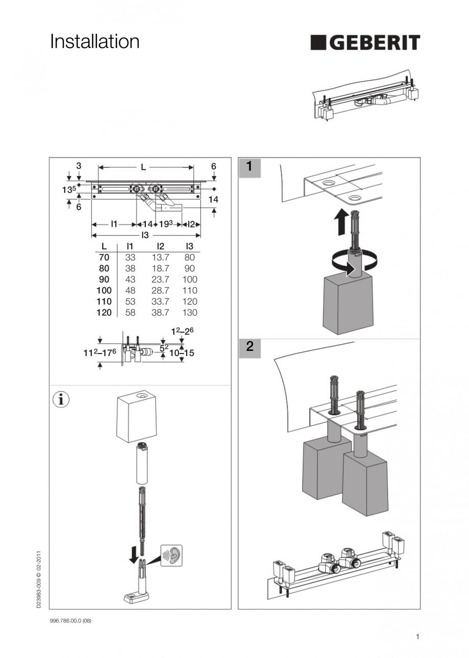 Pagina 1 - Rigola liniara pentru dus - montaj la perete GEBERIT Scurgere in pardoseala Instructiuni ...