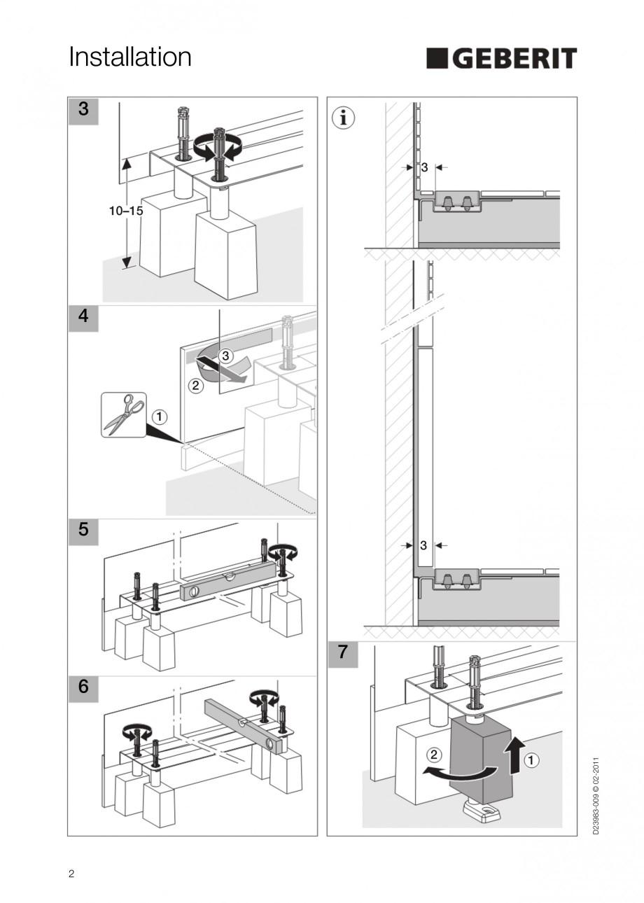 Pagina 2 - Rigola liniara pentru dus - montaj la perete GEBERIT Scurgere in pardoseala Instructiuni ...