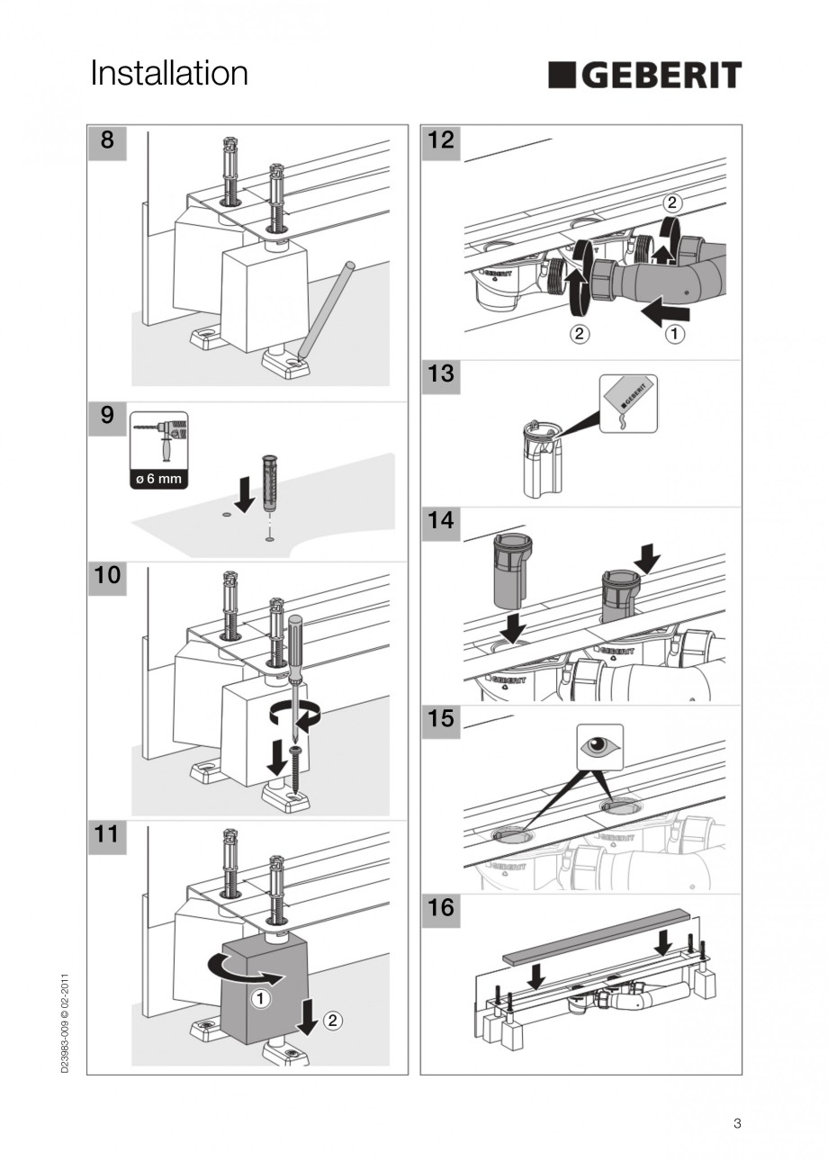 Pagina 3 - Rigola liniara pentru dus - montaj la perete GEBERIT Scurgere in pardoseala Instructiuni ...