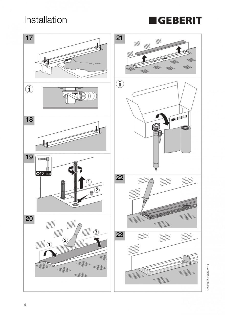 Pagina 4 - Rigola liniara pentru dus - montaj la perete GEBERIT Scurgere in pardoseala Instructiuni ...