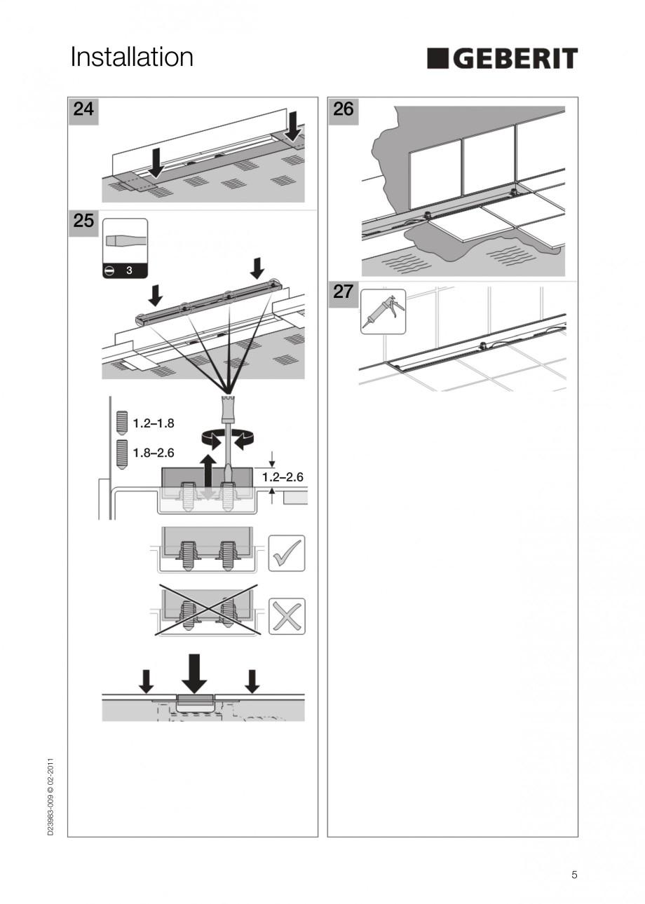 Pagina 5 - Rigola liniara pentru dus - montaj la perete GEBERIT Scurgere in pardoseala Instructiuni ...