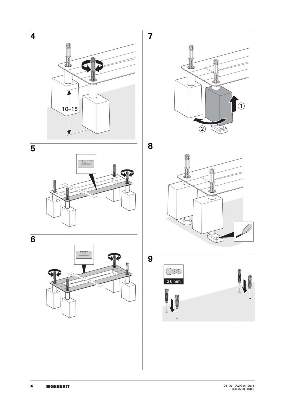 Pagina 4 - Rigola liniara pentru dus - montaj pe mijloc GEBERIT Scurgere in pardoseala Instructiuni ...