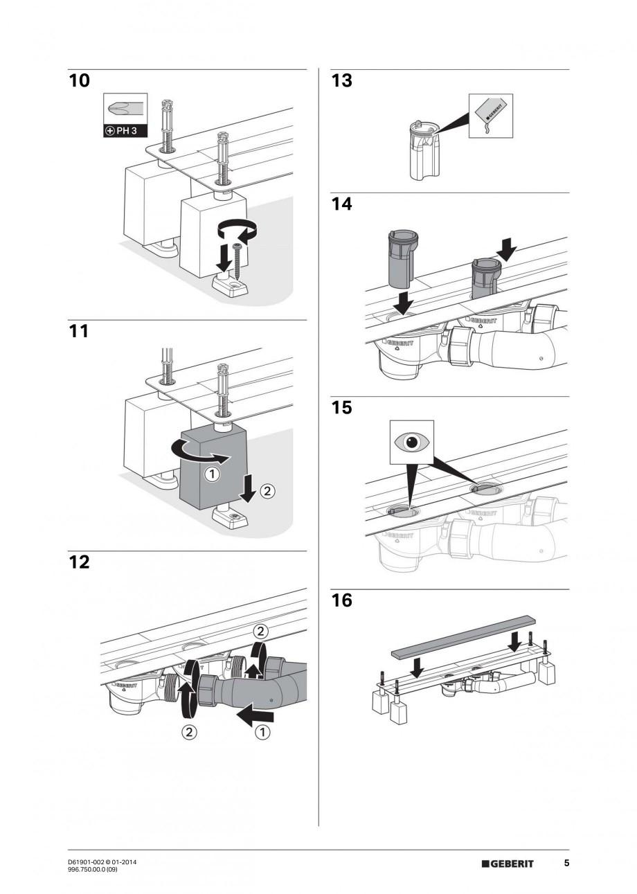 Pagina 5 - Rigola liniara pentru dus - montaj pe mijloc GEBERIT Scurgere in pardoseala Instructiuni ...