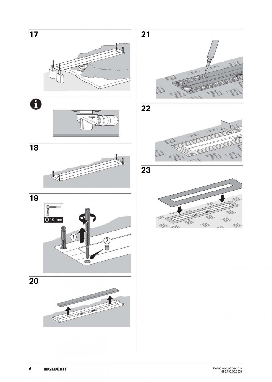 Pagina 6 - Rigola liniara pentru dus - montaj pe mijloc GEBERIT Scurgere in pardoseala Instructiuni ...