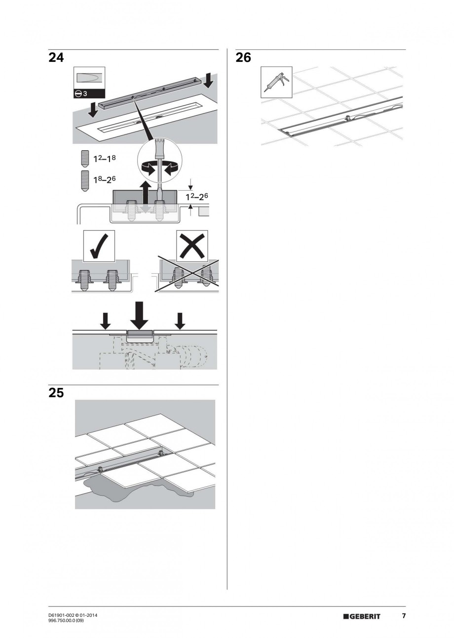 Pagina 7 - Rigola liniara pentru dus - montaj pe mijloc GEBERIT Scurgere in pardoseala Instructiuni ...