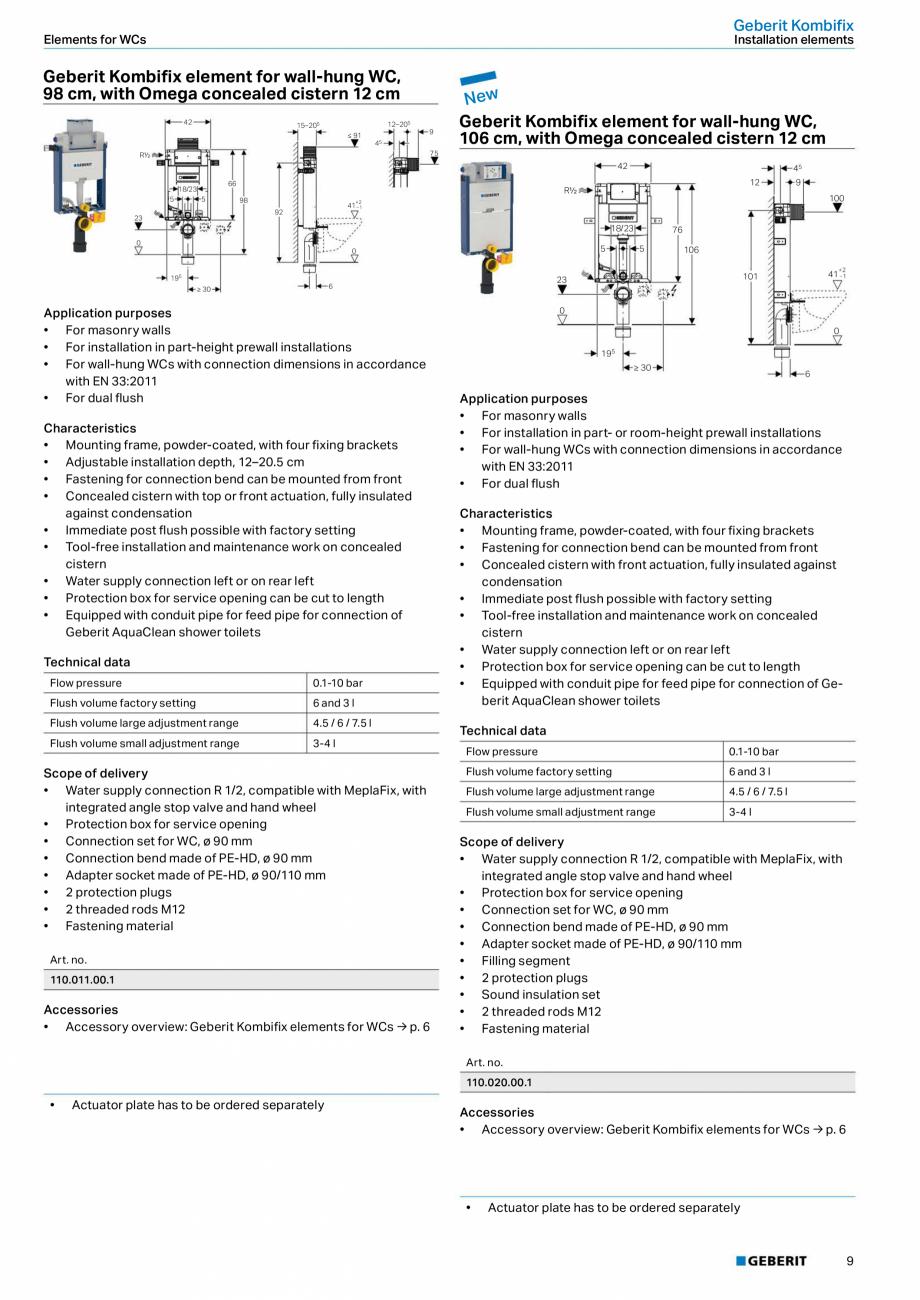 Pagina 9 - Sisteme sanitare Geberit 2015-2016 GEBERIT Scurgere in perete, Scurgere in pardoseala,...
