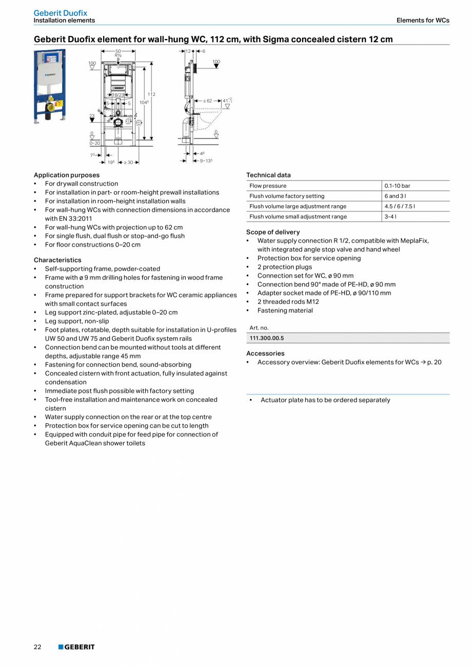 Pagina 22 - Sisteme sanitare Geberit 2015-2016 GEBERIT Scurgere in perete, Scurgere in pardoseala,...