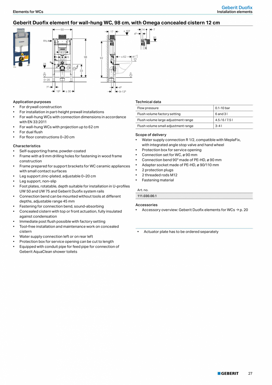 Pagina 27 - Sisteme sanitare Geberit 2015-2016 GEBERIT Scurgere in perete, Scurgere in pardoseala,...