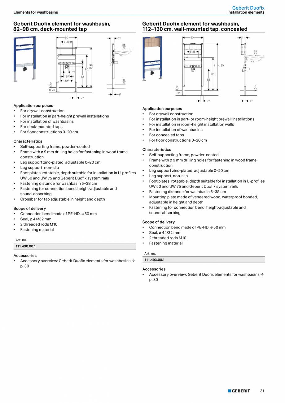 Pagina 31 - Sisteme sanitare Geberit 2015-2016 GEBERIT Scurgere in perete, Scurgere in pardoseala,...