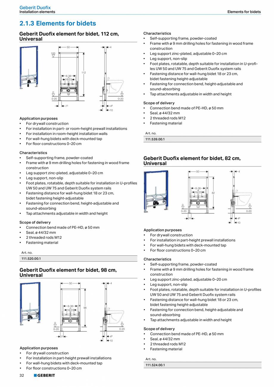 Pagina 32 - Sisteme sanitare Geberit 2015-2016 GEBERIT Scurgere in perete, Scurgere in pardoseala,...