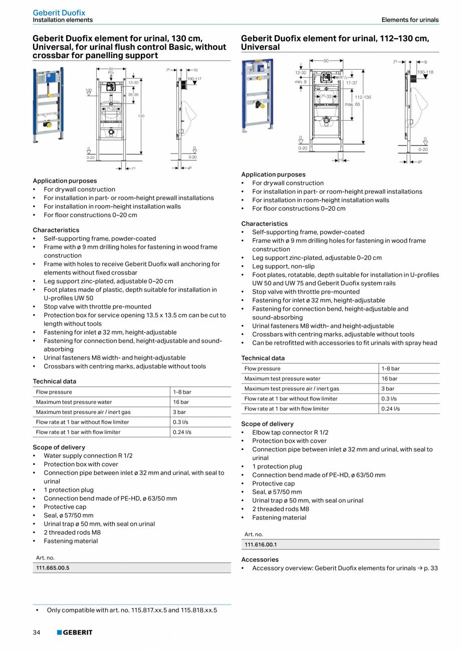Pagina 34 - Sisteme sanitare Geberit 2015-2016 GEBERIT Scurgere in perete, Scurgere in pardoseala,...