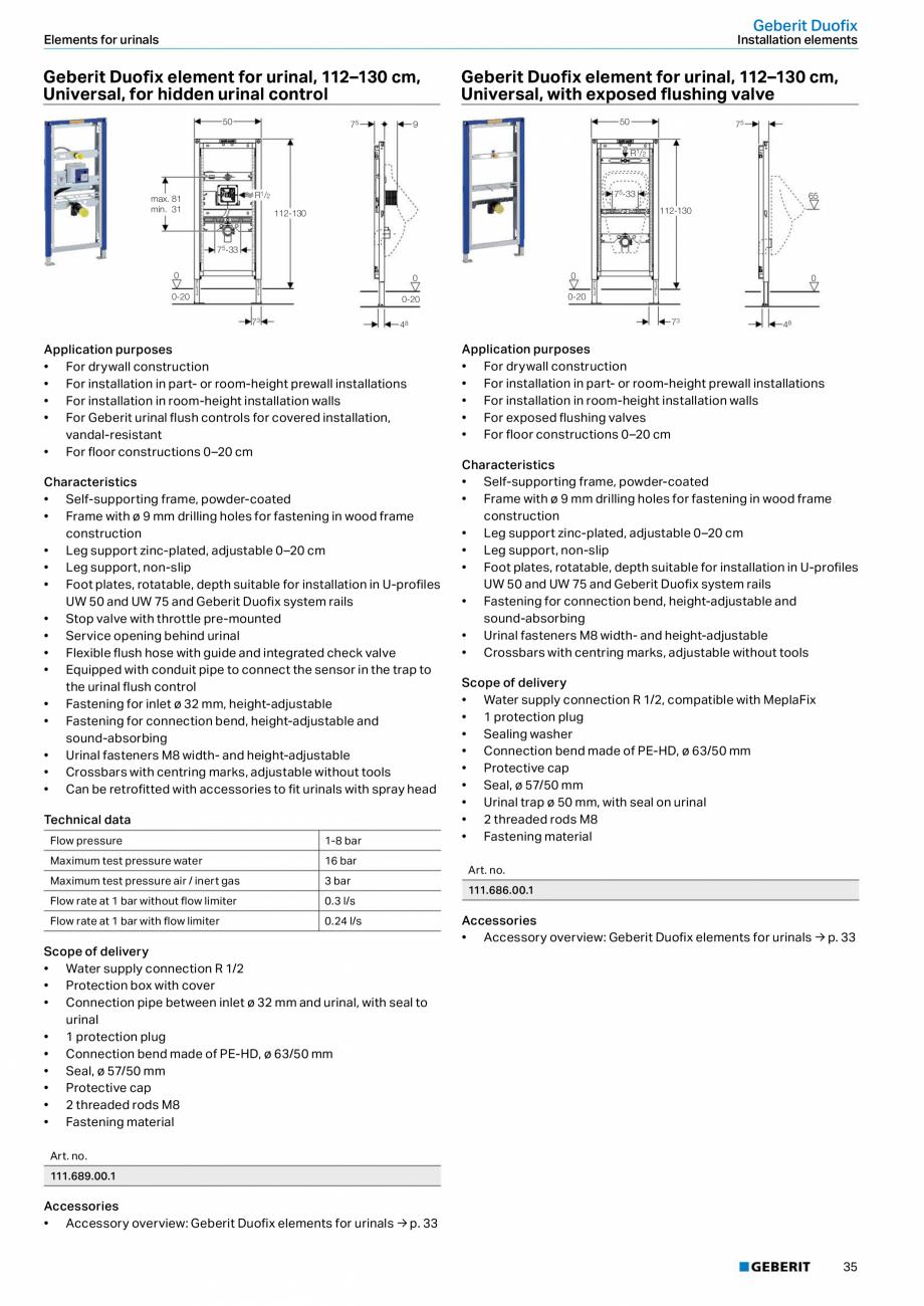 Pagina 35 - Sisteme sanitare Geberit 2015-2016 GEBERIT Scurgere in perete, Scurgere in pardoseala,...