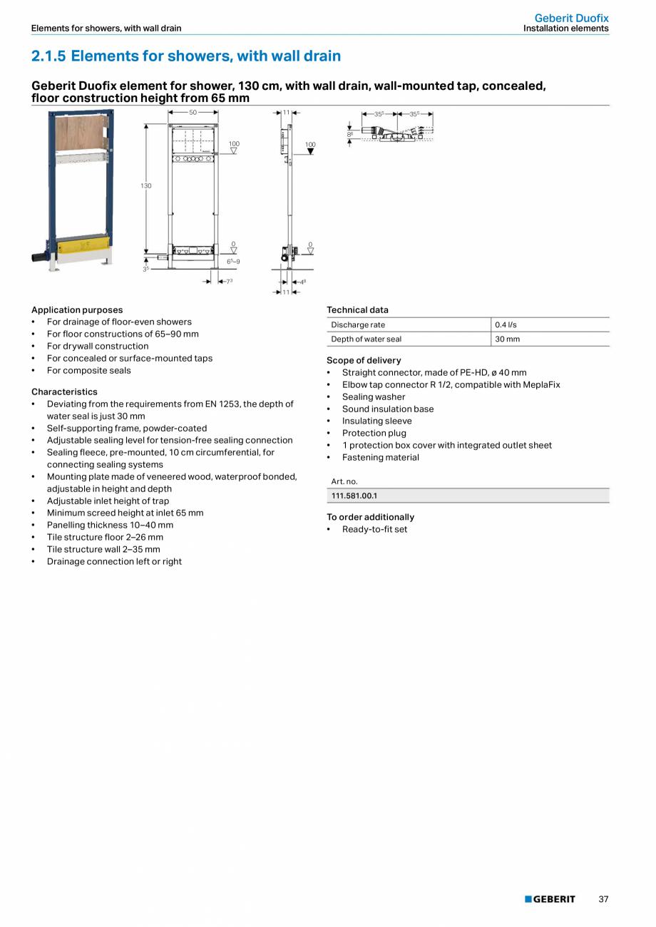 Pagina 37 - Sisteme sanitare Geberit 2015-2016 GEBERIT Scurgere in perete, Scurgere in pardoseala,...