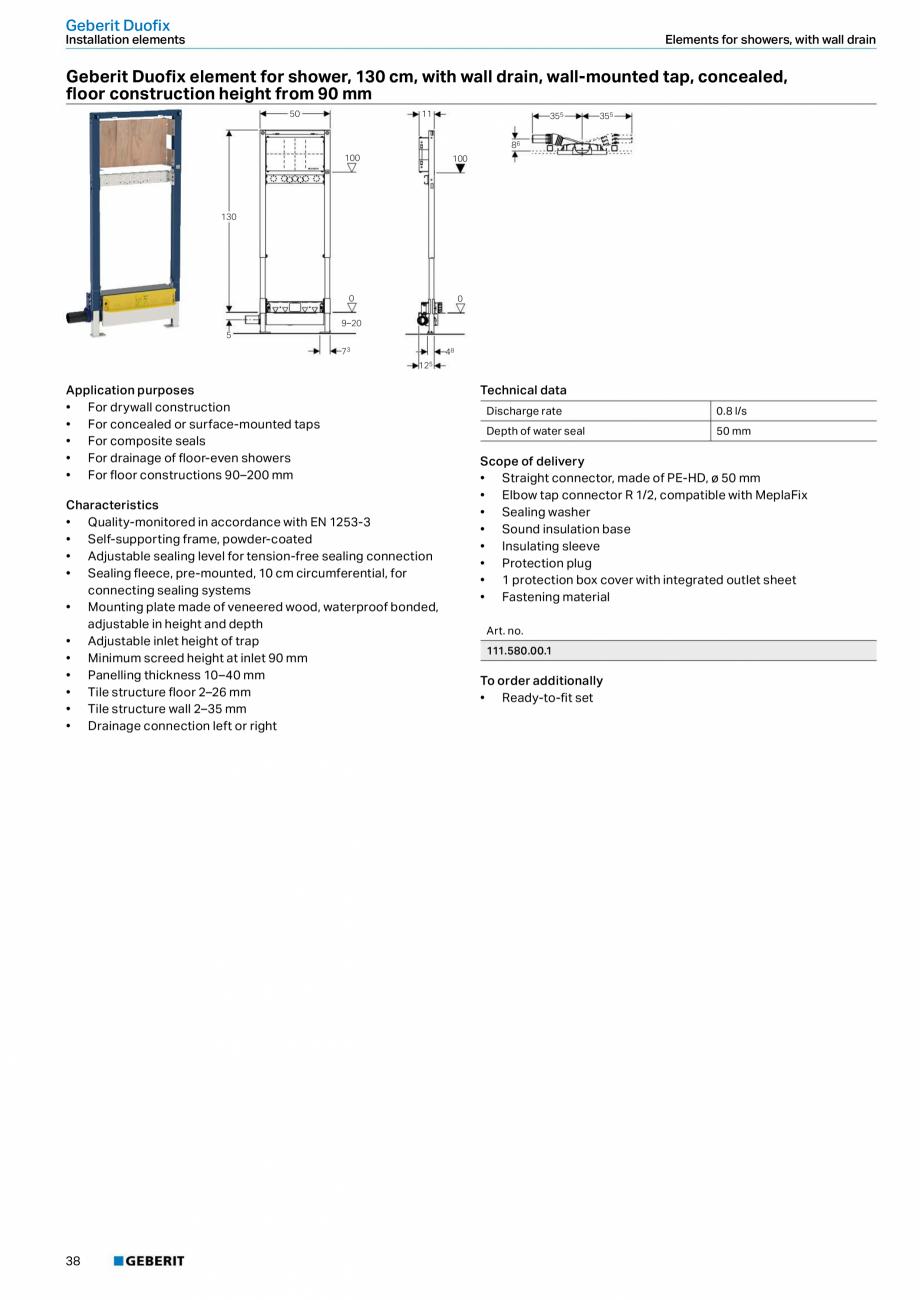 Pagina 38 - Sisteme sanitare Geberit 2015-2016 GEBERIT Scurgere in perete, Scurgere in pardoseala,...
