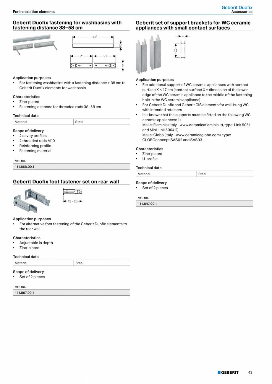 Pagina 43 - Sisteme sanitare Geberit 2015-2016 GEBERIT Scurgere in perete, Scurgere in pardoseala,...