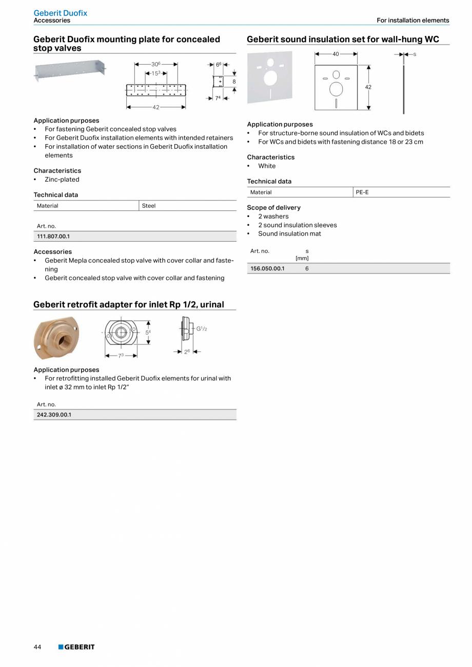 Pagina 44 - Sisteme sanitare Geberit 2015-2016 GEBERIT Scurgere in perete, Scurgere in pardoseala,...